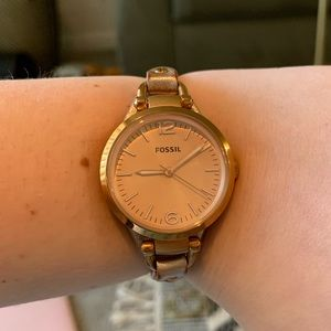 Women's FOSSIL Leather Rose Gold Watch